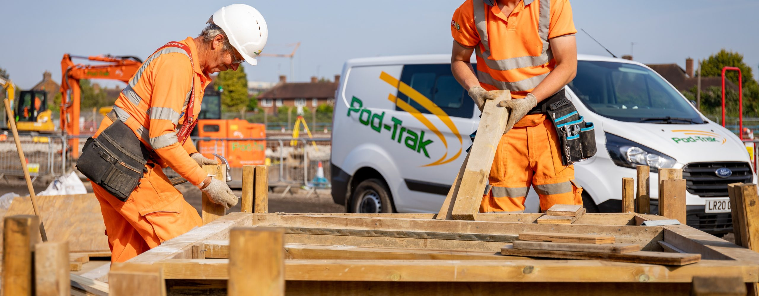 Pod-Trak team working at Feltham Depot - students and graduates